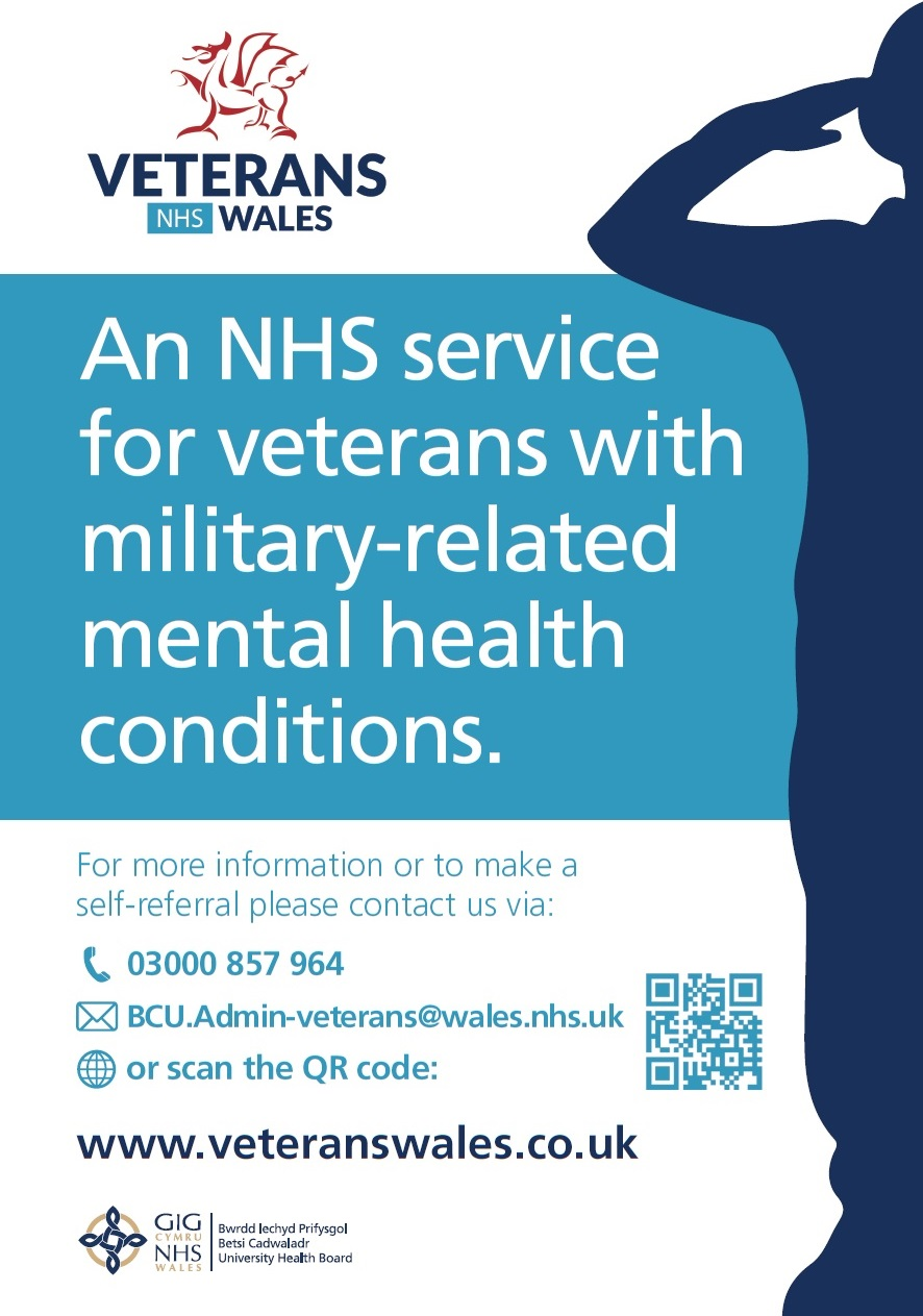 An NHS service for veterans with military-related mental health conditions. For more information or to make a self-referral please contact us via: 03000 857 964 BCU.Admin-veterans@wales.nhs.uk www.veteranswales.co.uk
