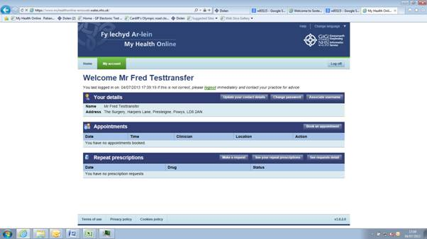 Screenshot of how to use MyHealthOnline